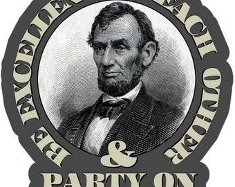 "Abraham Lincoln Politics Portrait Car Bumper Sticker Decal /""SIZES/'/'"