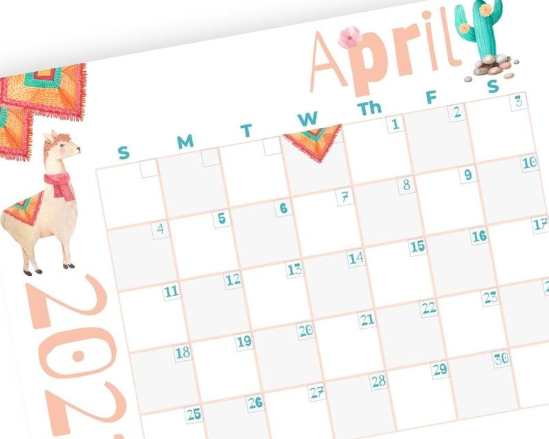 2021 Calendar Printable Llama Calendar 12 Month Calendar ...