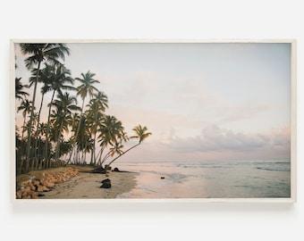 Palm Beach Frame TV Art   Summer Frame TV   Beach Sunset Photo   Palm Tree Beach TV Decor   Samsung Frame Tv Art   Pastel Beach Sunset Tv