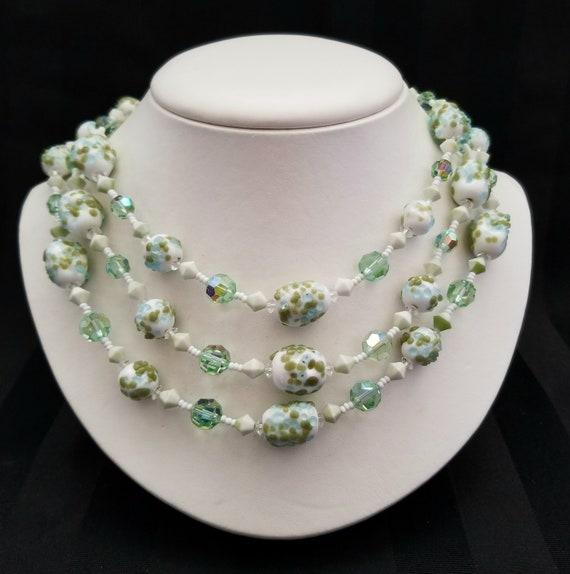 Vendome Lampwork Glass Bead Triple Strand Necklace