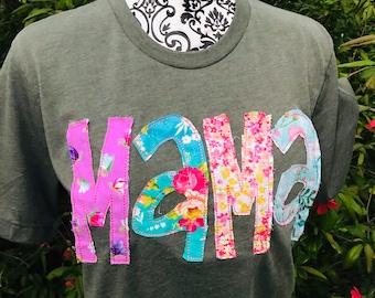 floral and cheetah ~ Bella Canvas unisex mint MAMA appliqued T-shirt ~ Bright fabrics