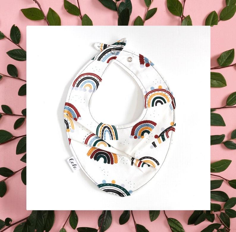 Made in New Zealand 100/% Cotton - Rainbows Baby Bib