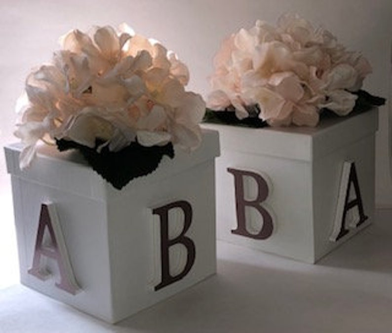 Hydranges Centerpiece Gender Reveal Party White Box Centerpiece Baby Letters Baby Shower Centerpiece Baby Shower Decor Baby Gift