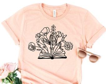 Wildflowers and Book Lover Shirt, Meditation Shirt, Dandelion Shirt, Floral Tee, Yoga Shirt, Yoga Breathe Shirt,  Book Lover Gift