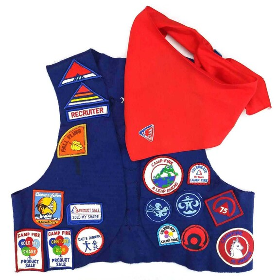 Camp Fire Girls Vest with Bandanna Sewn On Beads &