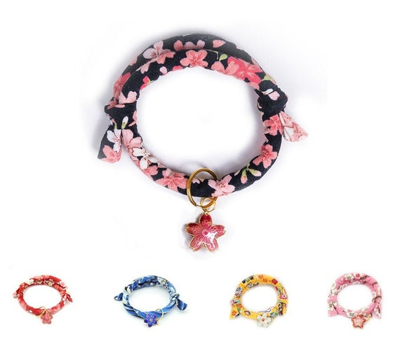 Japanese Style with Sakura Silent Bell MEOW PUNCH Handmade Cotton Collar for Cats /& Small Dogs Blue 15-35cm Adjustable and Soft