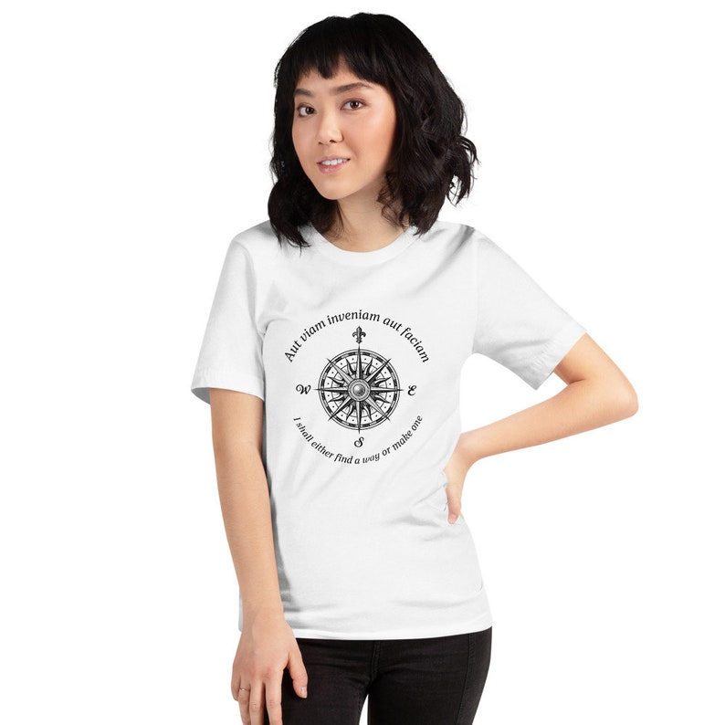 Geography Unisex graphic T-shirt compass rose funny graphic science geek geography inspirational quotes I shall find my way