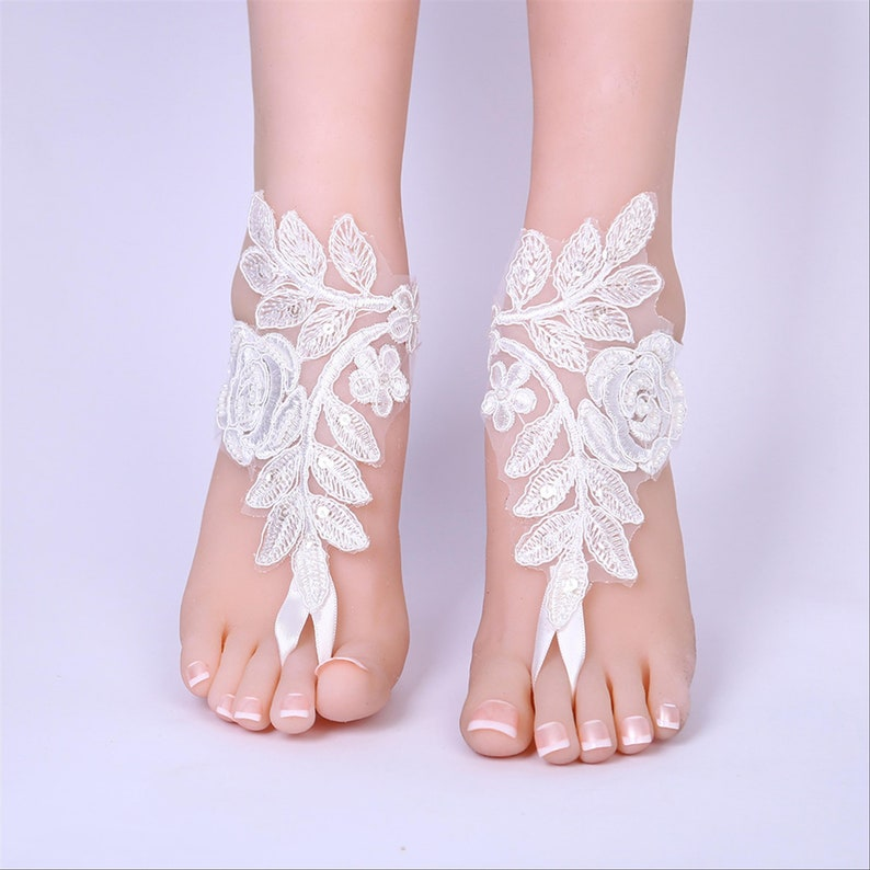 Rose Black Beads Lace Barefoot Sandals Bridal Footless Sandals Beach Wedding Barefoot Wedding Shoe Bridal Anklet Barefoot Foot Jewelry Frame