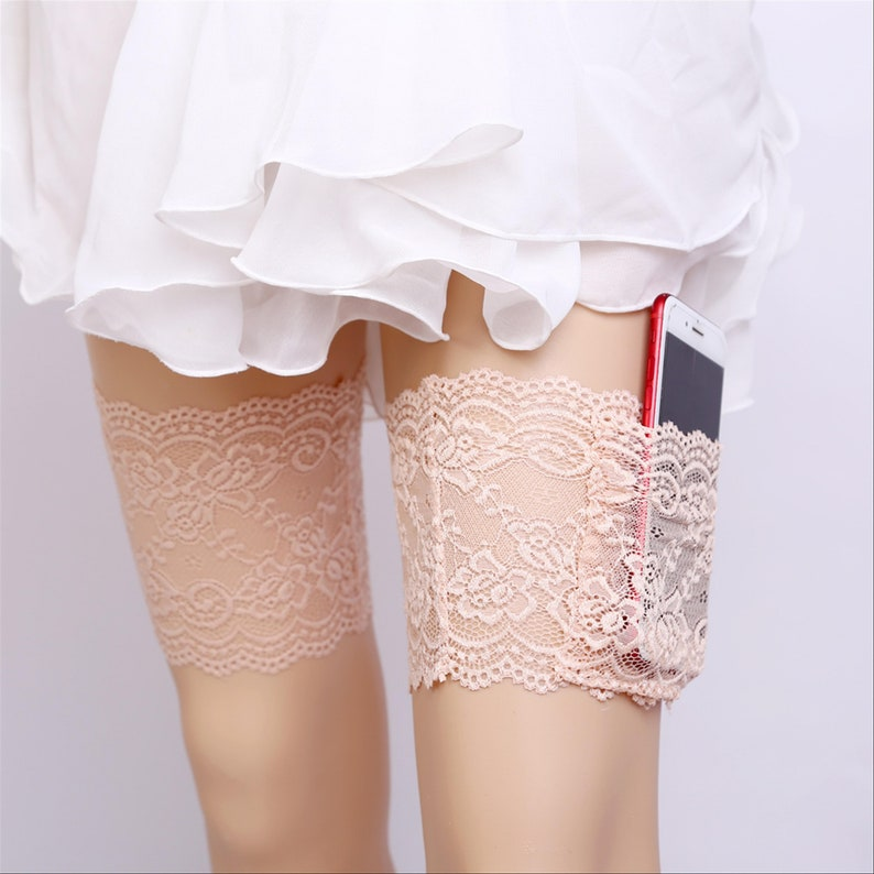 Pink Lace Pocket Phone Holder Holster Wedding Garter Bridal Garters Toss Garter Prom Garter Keepsake Garter Lace Garter Set Bride Garter