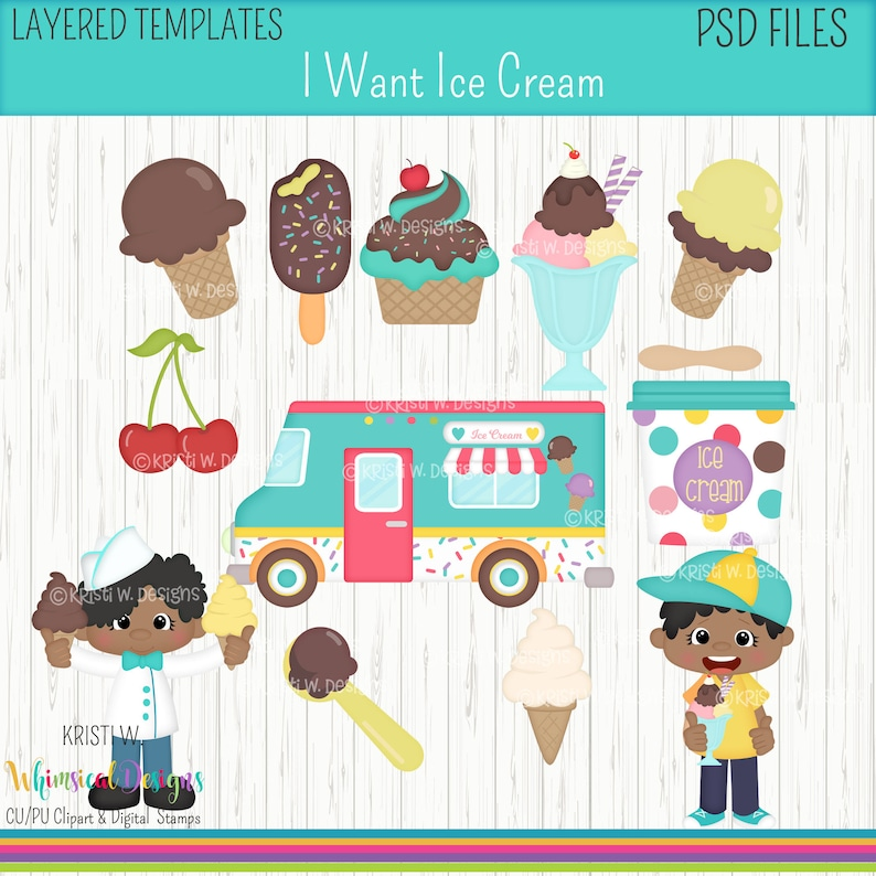 DIY Color Sublimation Instant Download I Want Ice Cream- Boys-Dark Skin -Digital Clipart Images PSD Layered Templates -Kristi W Designs