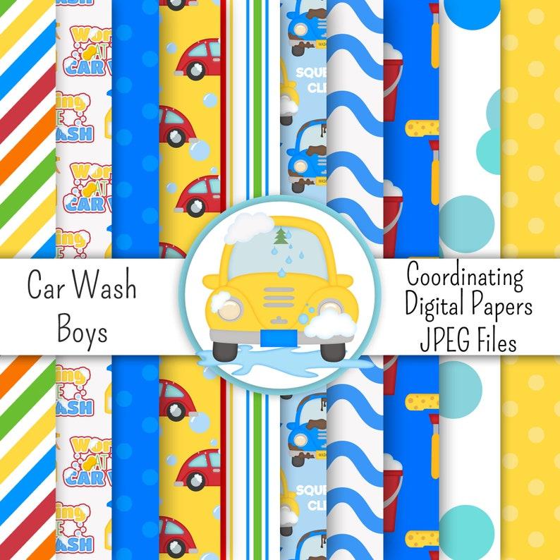 Coordinating-Digital Scrapbook Paper-Kristi W Designs Instant Download Printable Sublimation Car Wash