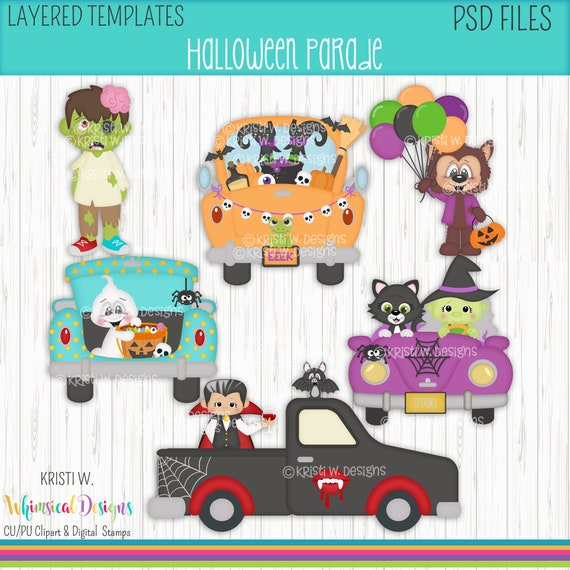 Scrapbook Scrapbook Sublimation,Cookie Cutters Halloween Witches-Dark Skin Digital PSD Layered Graphics-Kristi W Designs Clothing