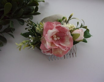 rosemary and Rose leaf wedding hair accessory comb Beautiful white vintage boho floral flower Peony Rose bridal hair comb with gypso