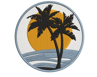 Crown Palm Tree Embroidery Applique Cloth DIY Sewing /& Iron on Patch Badge