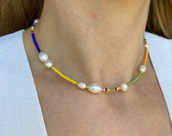 Colorful beaded necklace pearl beaded necklace rainbow beaded necklace