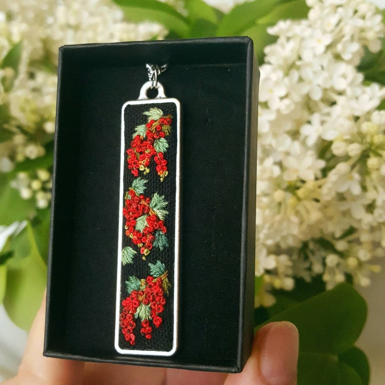 Necklase Handmade Jewelry Rectangle Feminine Handembroidered Red Currant