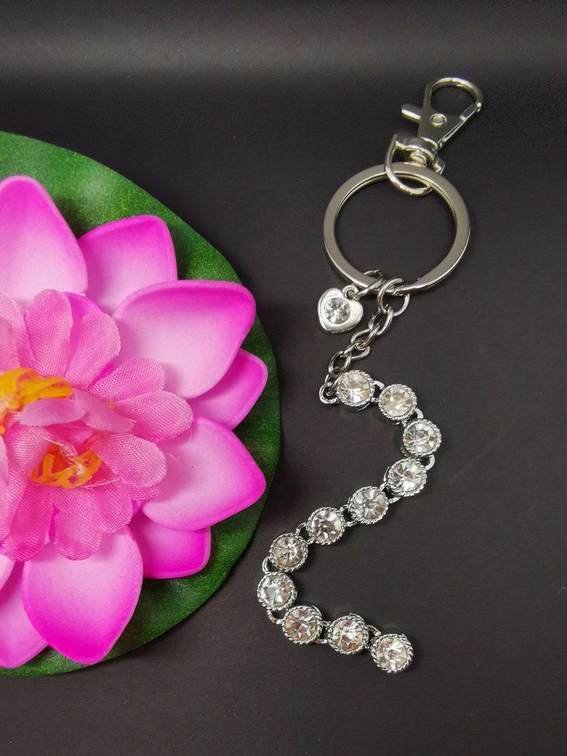 Rhinestone long keyring keychain handbag charm purse zipper bag zipper puller heart
