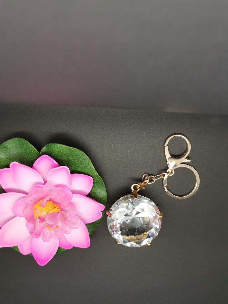 Gold settings  round crystal clear faceted rhinestone suncatcher keyring keychain bag charm handbag zipper purse puller pendant gift for her