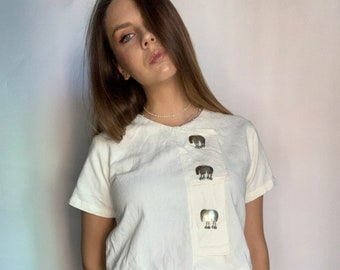 oversized basic essential wide crop top tank top t-shirt Vintage 80s Minimal White boxy oversized slouchy batwing sleeve Crop Top t-shirt