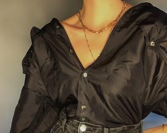 Vintage silk black shirt pure silk blouse boxy oversized unisex silk black top collar