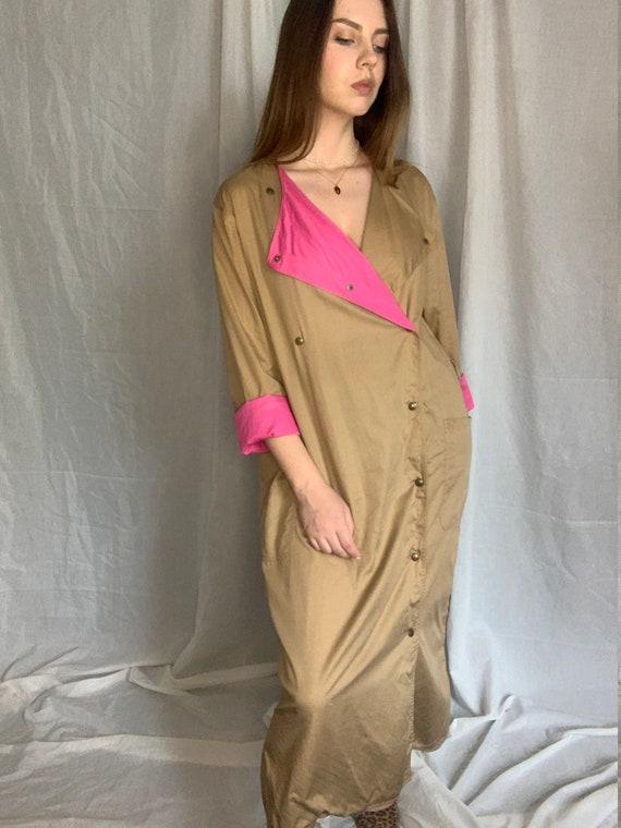Vintage cotton dress coat straight biege pink unbo