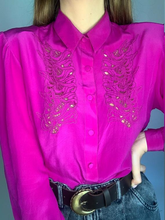 70s pure silk fuchsia laces buff sleeve blouse co… - image 5