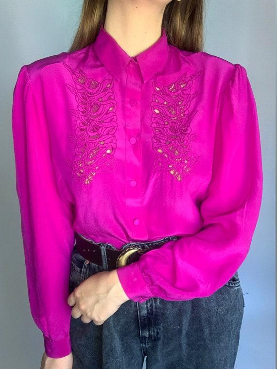 70s pure silk fuchsia laces buff sleeve blouse co… - image 3