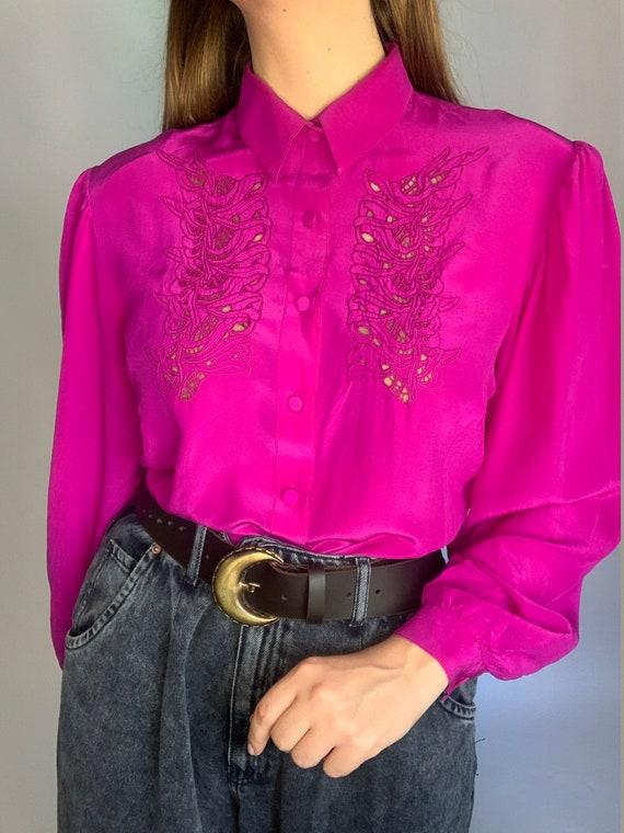 70s pure silk fuchsia laces buff sleeve blouse co… - image 2
