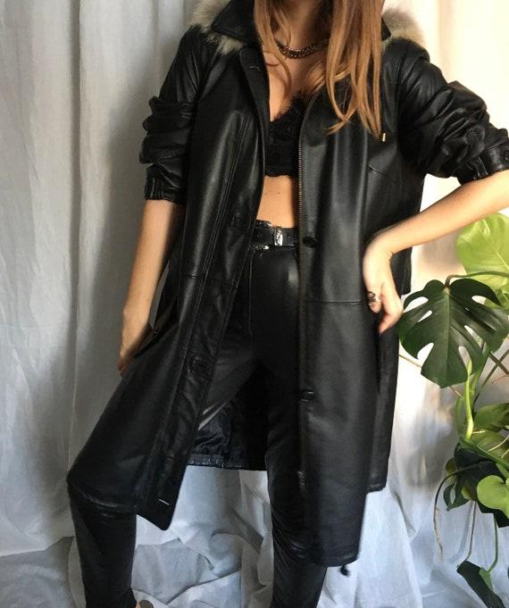 Vintage 80s leather parka leather coat  fox fur 80