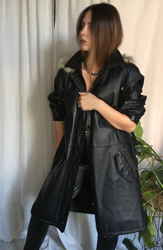 Vintage 80s leather parka leather coat  fox fur 80