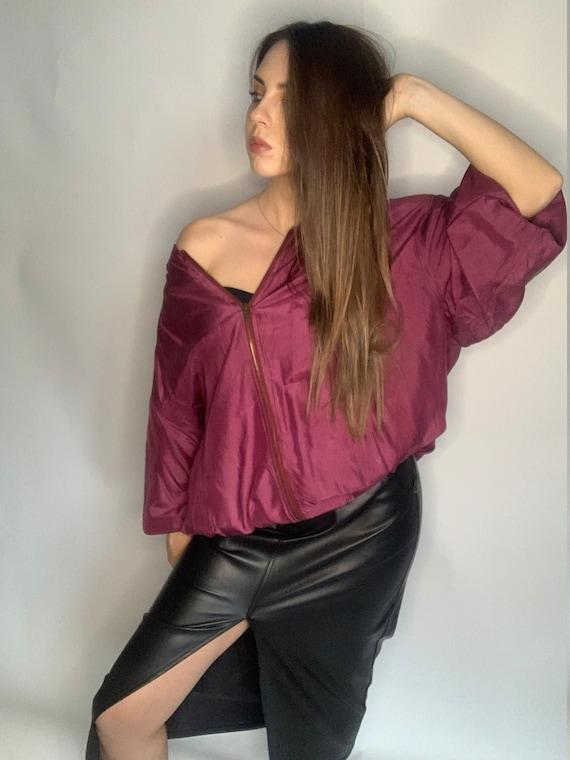 Pure silk bomber  oversized burgundy jacket with z