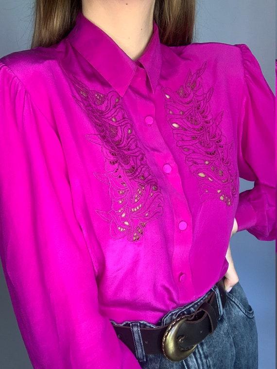 70s pure silk fuchsia laces buff sleeve blouse co… - image 6