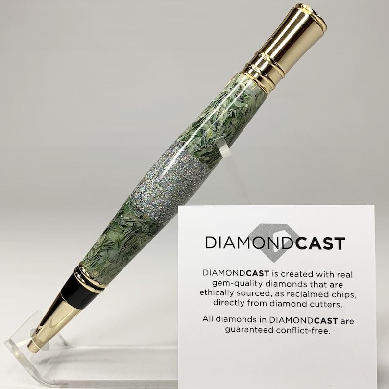 New Custom Made Shredded Money and Real Diamond 24K Gold Ballpoint Twist Pen P067