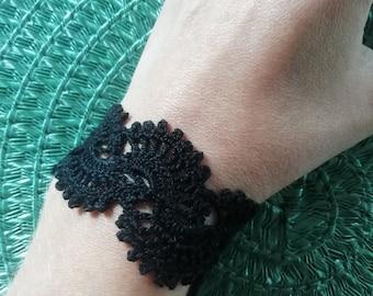 Handmade lace crochet black brancelet for you.