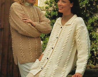 Vintage pattern PDF 1980/'s Cardigan knit pattern Instant download Women/'s button up dog tooth pattern jacket knitting pattern PDF 32-40