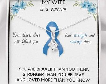 COLON CANCER RIBBON - My wife is a Warrior - Beautiful Ribbon Necklace - Cancer Awareness for Wife