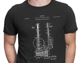 Modern Banjo Patent T Shirt, Musician Gift, Banjo Shirt, Music Shirt, Guitarist, Country Music Shirt, Patent Shirt, Banjo Art, PT4