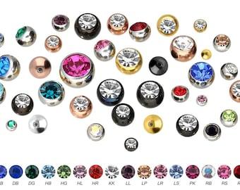 piercinginspiration® crystal threaded ball piercing surgeon steel single part spare ball