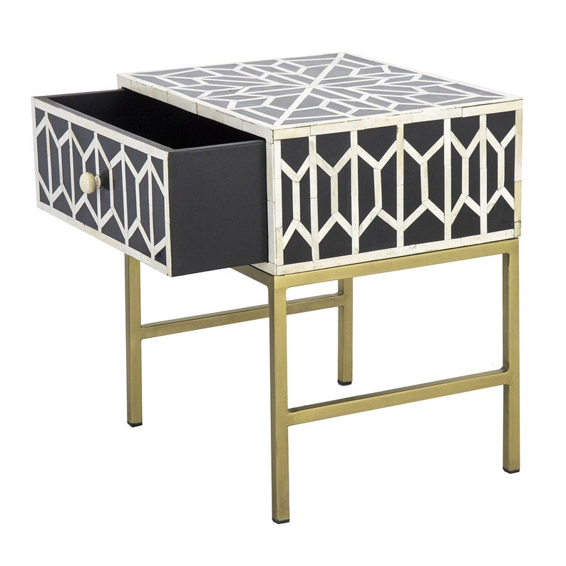 Bone Inlay Bedside Of 1 Drawers Handmade Inlay Furniture For Home And Living Commode Storage Table Box With Drawers by BoneInlayArts