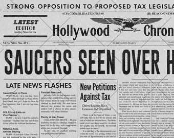 Saucers Seen Over Hollywood, Plan 9 from Outer Space newspaper recreation   11x17 Art Print