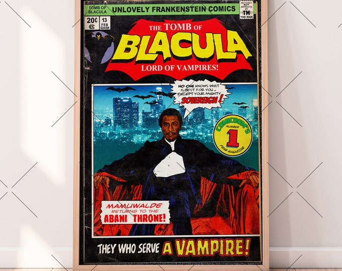 Featured listing image: The Tomb of Blacula Fake Comic Cover | 11x17 Art Print