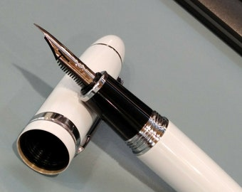 Med Nib Clever wood box Jinhao Quality new Fountain pen with Mother of Pearl Diamond shape inset