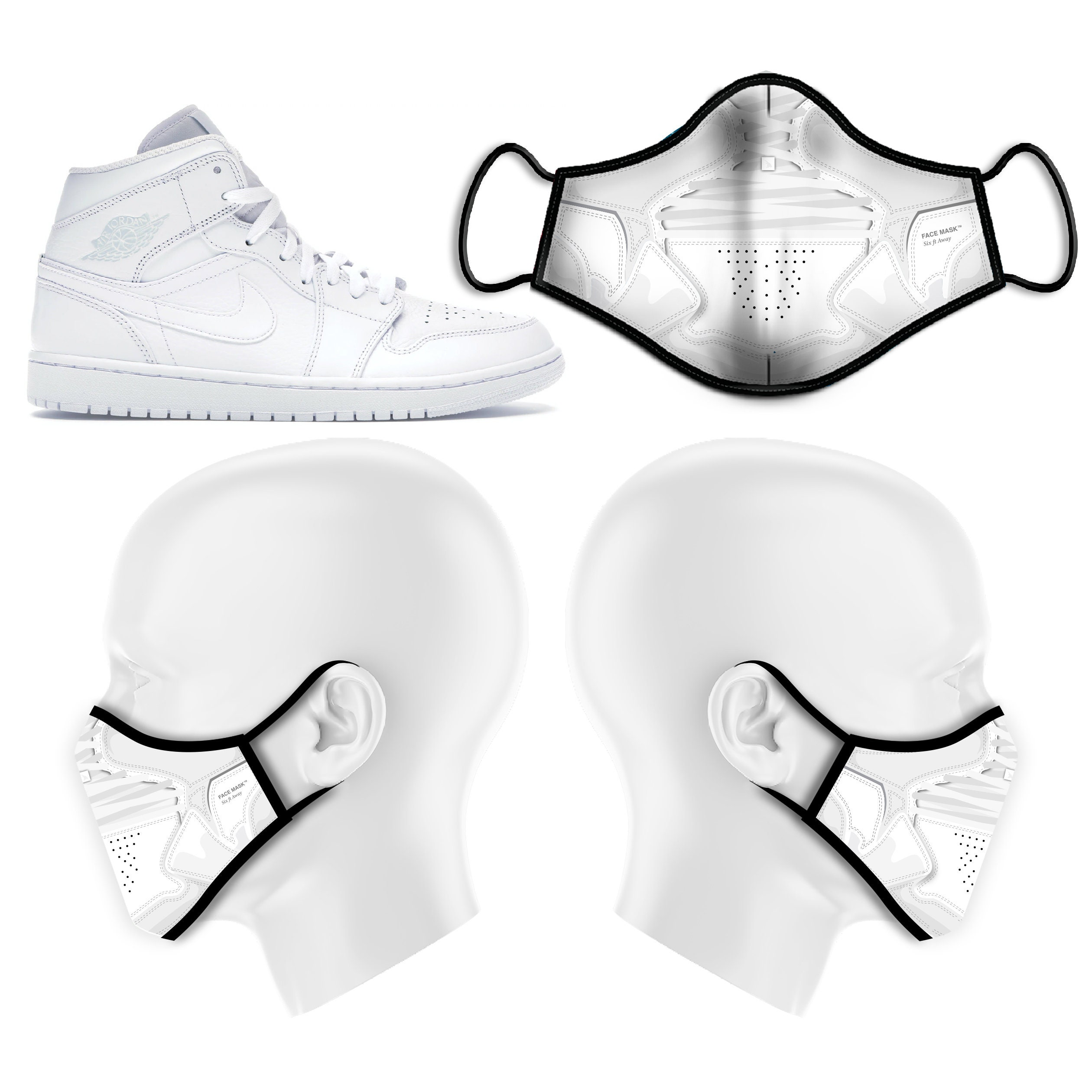 Farfetch Jordan Air Jordan 1 Mid Triple White Face Mask