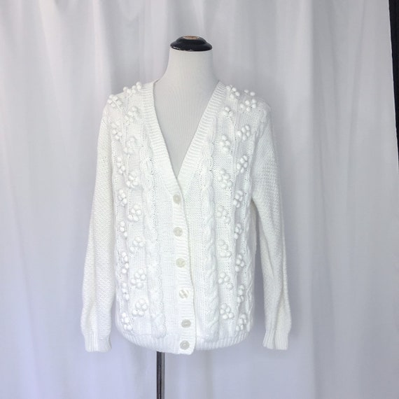 Vintage Granny Knit Cardigan Knobby Cotton White Chunky Slouchy Oversize
