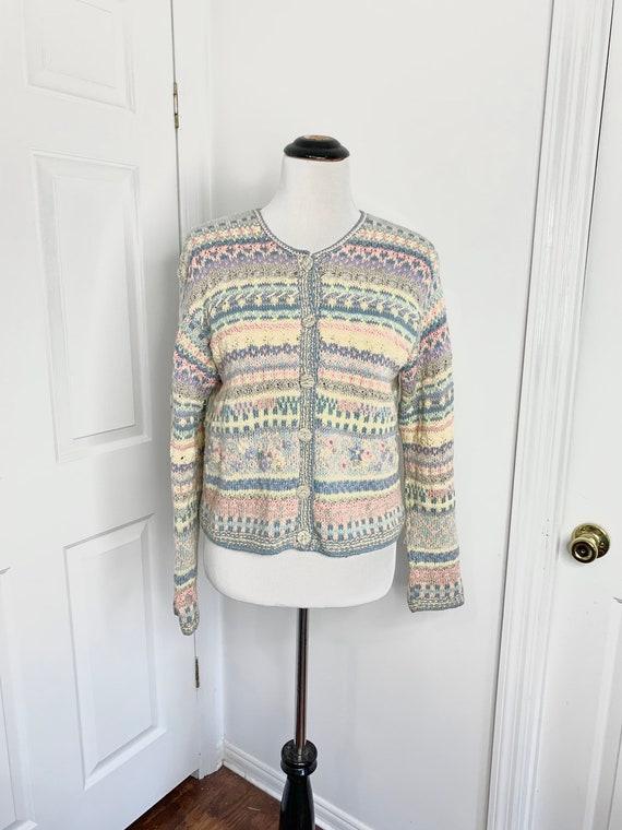 Vintage 1960/'s Hand Knit Granny SweaterCardigan