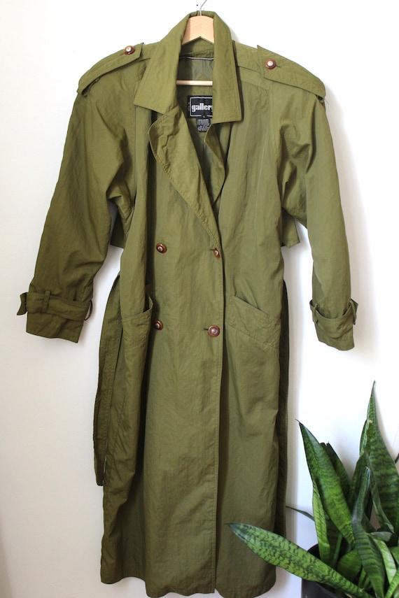 Olive Green Trench Coat Jacket