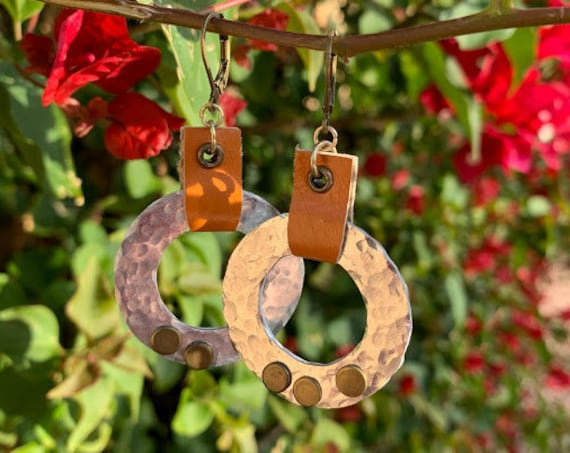 """1.75/2.25"""" Hammered mixed metals, rivets & leather earrings, so much fun!"""