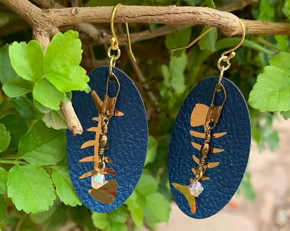 Bring on Summer Fish Bones Earrings, leather, vinyl, fishing swivels & Swarovski bead