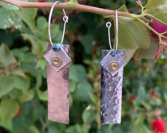 """1.75/2"""" Hammered metals & Rivets on 1"""" silver hoops"""