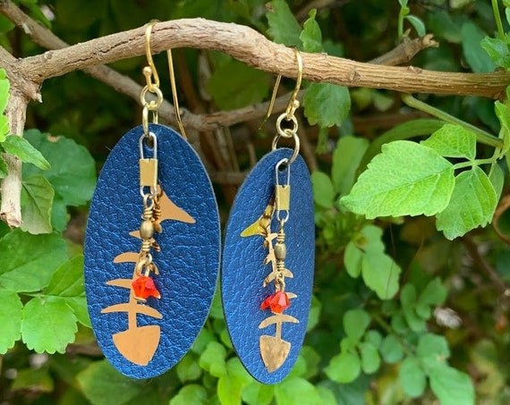 Bring on Summer Fish Bones, leather, vinyl, fishing swivels & Swarovski bead earrings